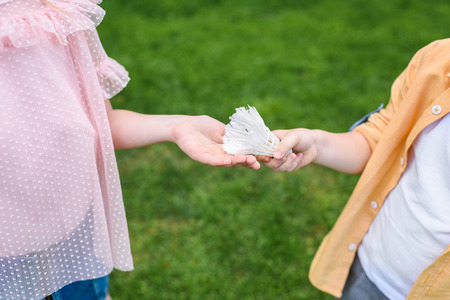 cropped shot of little kids holding shuttlecock in park