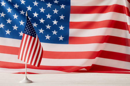 closeup view of united states of america flagpole and flag