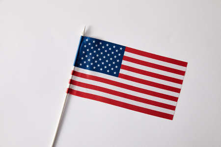 closeup view of united states of american flagpole on white surface