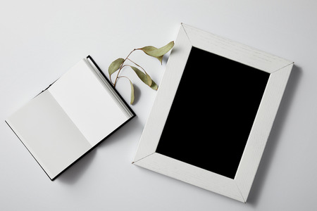 top view of opened notebook with green leaves and blank frame on white surface for mockup