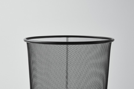 close-up shot of office trash can isolated on white Banco de Imagens