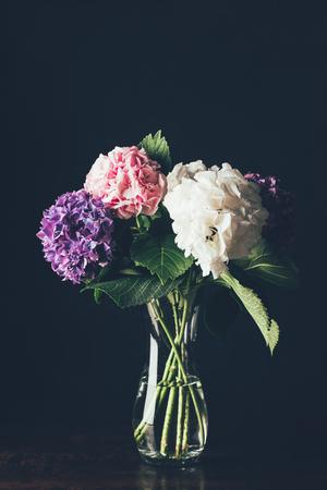 pink, white and purple hortensia flowers in glass vase, on black Zdjęcie Seryjne