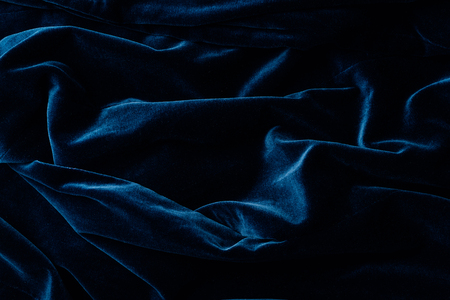 elevated view of dark turquoise velvet textile as background Archivio Fotografico