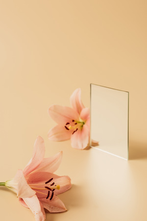 two lily flowers and mirror on beige table