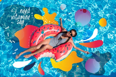 Young asian woman floating on inflatable donut in swimming pool. Illustration and lettering - I need vitamin sea Stock Photo