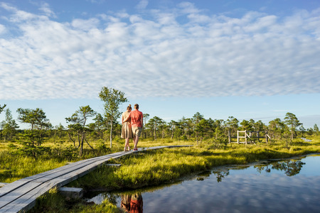 back view of couple in love hugging and walking on wooden bridge with green trees and blue sky on background