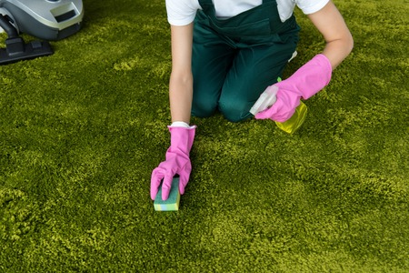 cropped shot of woman in rubber gloves cleaning carpet with rag and detergent spray Stock Photo