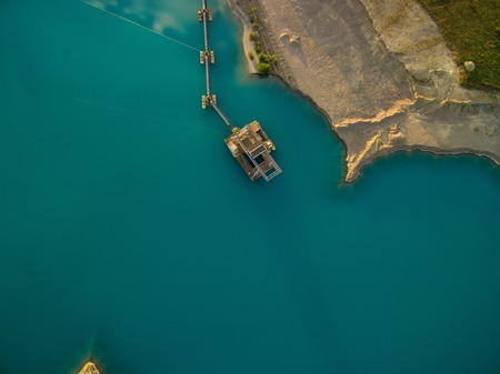 aerial view of dredge replenish sand in lake