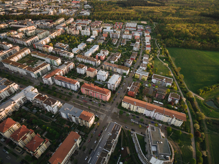 aerial view of streets of modern european town surrounded with trees, Kyiv, Ukraine Stock fotó
