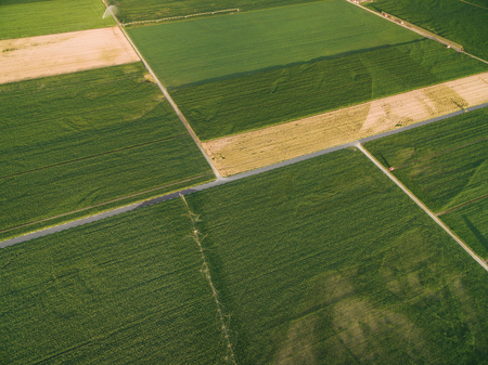 aerial view of green agricultural fields in summer, europe