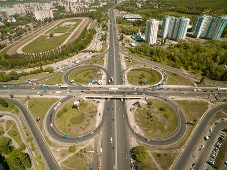 aerial view of overhead road full of cars at modern city, Kyiv, Ukraine 版權商用圖片