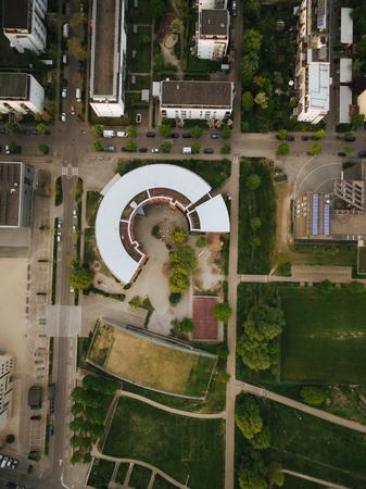 aerial view of round building at modern european city, Kyiv, Ukraine
