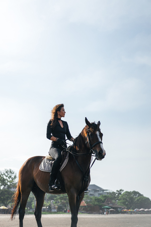 low angle view of female equestrian sitting on horse Zdjęcie Seryjne