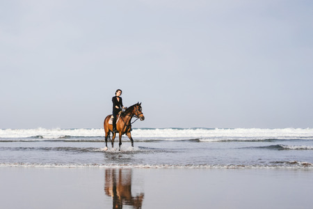 young female equestrian riding horse on sandy beach Reklamní fotografie - 106597012