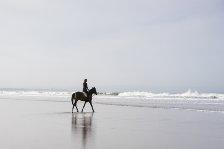 female equestrian riding horse on sandy beach Reklamní fotografie - 106597067