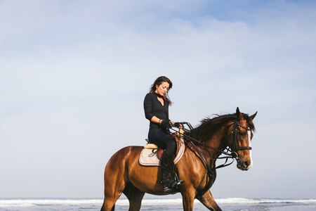 low angle view of young female equestrian sitting on horse