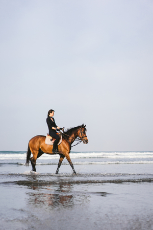 side view of young woman riding horse with wavy ocean behind