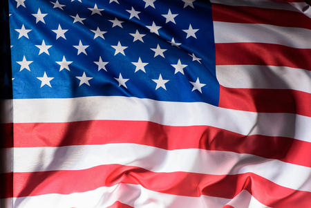 close-up shot of waving united states flag, Independence Day concept Stock Photo