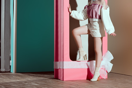 cropped shot of fashionable young woman posing in decorative pink box with bow