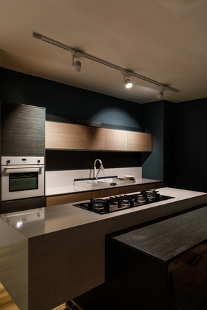 Interior of modern kitchen with stove on counter