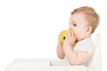 little boy eating apple in highchair isolated on white background