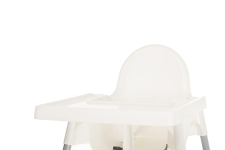 closeup view of highchair isolated on white background