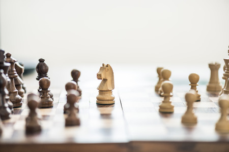 close-up view of wooden chess figures on chess board, selective focus Stok Fotoğraf