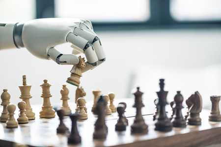 close-up view of robot playing chess, selective focus Stok Fotoğraf