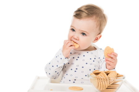 adorable baby boy eating cookies sitting in highchair isolated on white background Stock Photo - 106561001