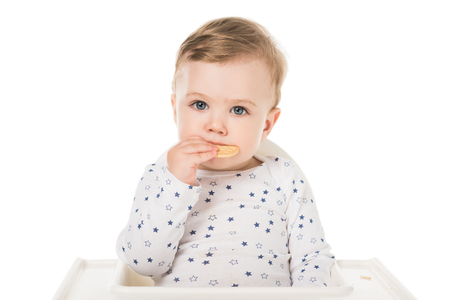 baby boy eating cookies sitting in highchair isolated on white background Stock Photo