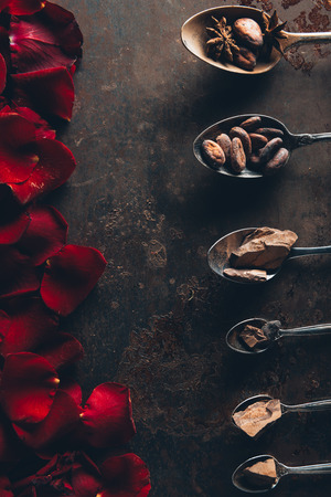 top view of spoons with chocolate pieces, cocoa beans and star anise and red rose petals on dark surface Stock Photo