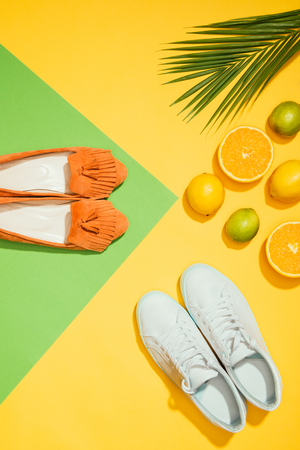top view of palm leaf, stylish female slippers shoes and sneakers, lemons, limes and slices of orange Archivio Fotografico