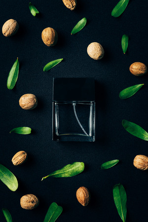 top view of bottle of perfume with green leaves and walnuts around on black Banco de Imagens