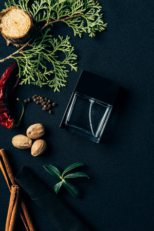 top view of bottle of perfume with aromatic spices and fir branch on black Foto de archivo - 106586327