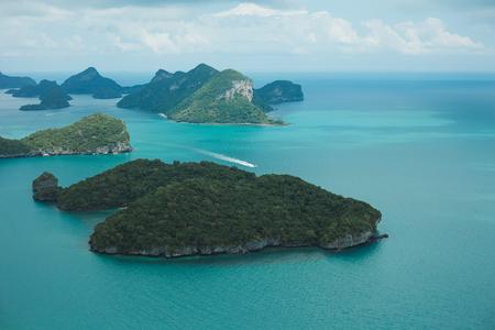 aerial view of ship and islands in ocean at Ang Thong National Park, Ko Samui, Thailand