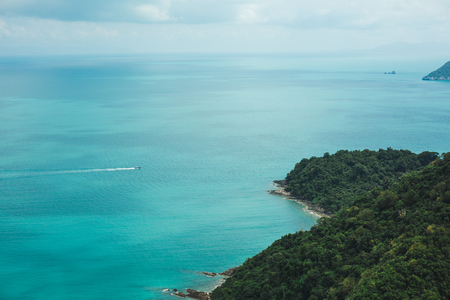 aerial view of vessel and islands in ocean at Ang Thong National Park, Ko Samui, Thailand