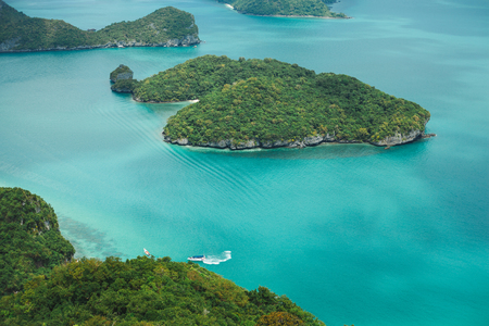 aerial view of yacht between islands in ocean at Ang Thong National Park, Ko Samui, Thailand Stock Photo - 106597211