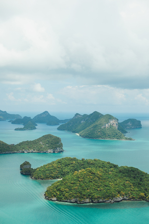 aerial view of beautiful islands in ocean at Ang Thong National Park, Ko Samui, Thailand