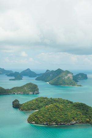 aerial view of beautiful islands in ocean at Ang Thong National Park, Ko Samui, Thailand