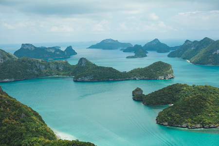 aerial view of seascape with islands at Ang Thong National Park, Ko Samui, Thailand