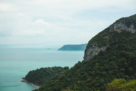 island covered with trees in ocean at Ang Thong National Park, Ko Samui, Thailand Stock Photo