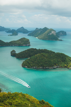 aerial view of yacht and islands in ocean at Ang Thong National Park, Ko Samui, Thailand