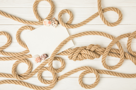 top view of empty paper with seashells on brown nautical knotted ropes on white wooden surface