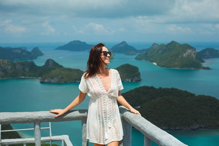 smiling traveler at Ang Thong National Park, Ko Samui, Thailand Stock Photo - 106598851