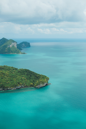 aerial view of turquoise ocean with islands at Ang Thong National Park, Ko Samui, Thailand Stock Photo