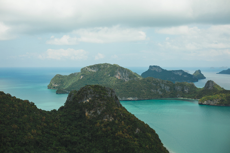 aerial view of islands covered with forests in ocean at Ang Thong National Park, Ko Samui, Thailand Stock Photo