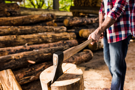 cropped shot of lumberjack in checkered shirt chopping log at sawmill Zdjęcie Seryjne