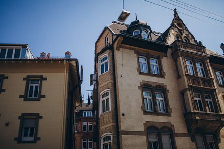 low angle view of buildings in stuttgart city, germany Stock Photo