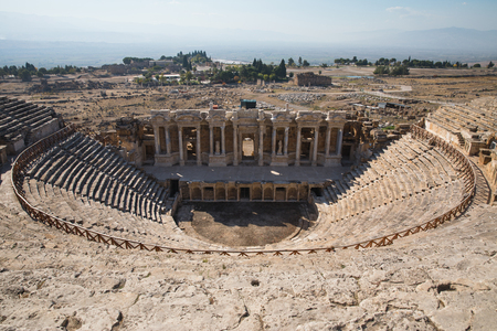 ruins of ancient amphitheater in hierapolis, turkey