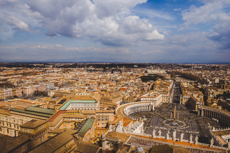 aerial view of St. Peters square and Vatican streets, Italy
